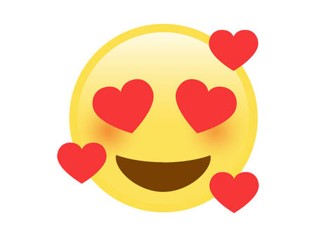 The vector isolated yellow smiley red cheek face icon with sweet heart eyes