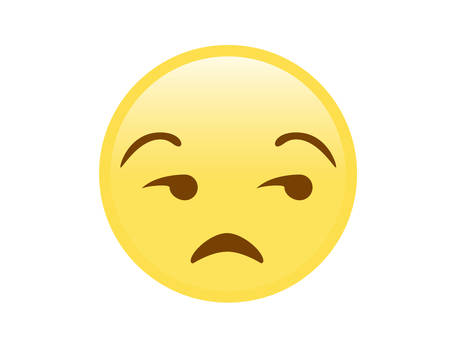 The vector isolated yellow gloss, upset, not impressed face icon