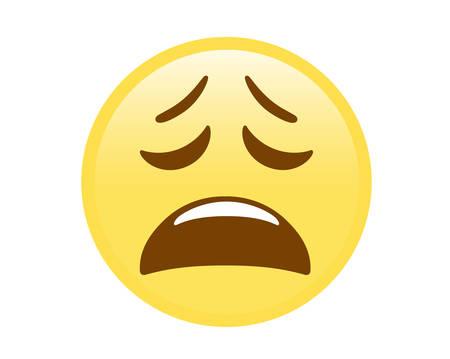 Le vecteur isolé jaune expression déçue face à l'icône plate