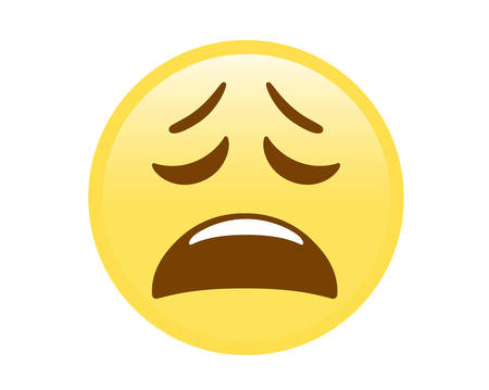 The vector isolated yellow disappointed expression face flat icon