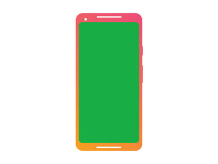 The vector isolated gradient smart phone device mockup template with green screen