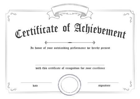 Modèle de papier de certificat de réussite rétro classique horizontal arrière-plan blanc, il est prêt à l'emploi Vecteurs
