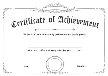 Horizontal classic retro certificate of achievement paper template white background, it's ready to use