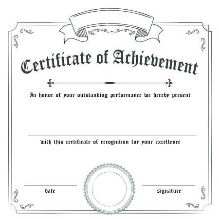 Square classic retro certificate of achievement paper template white background, it's ready to use