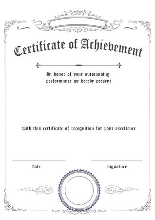 Vertical classic retro certificate of achievement paper template white background, its ready to use