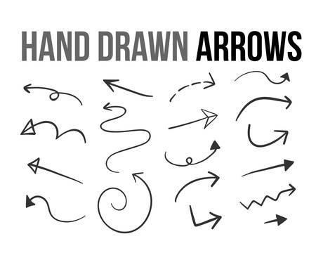 Hand drawn arrow  set  on white background