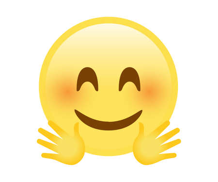 The isolated yellow happy smiley face icon with red cheek and hugging hands Banco de Imagens