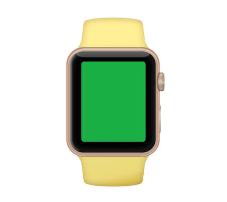 Isolated gold aluminum case smart watch and pollen yellow band with green screen Banco de Imagens