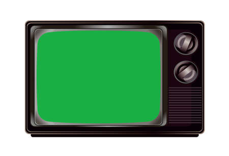The isolated vintage television with green screen mockup template