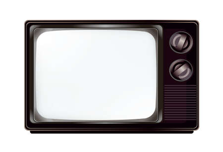 The isolated vintage television with empty screen mockup template Banco de Imagens