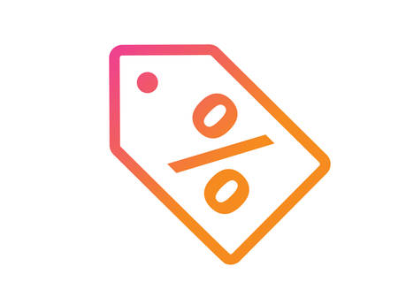 The isolated gradient pink and orange discount tag flat icon on white background Ilustração