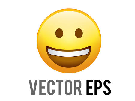 The Isolated vector gradient yellow smiley face with white teeth flat icon Ilustração