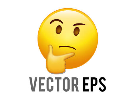 The isolated vector yellow considering face with right hand flat icon