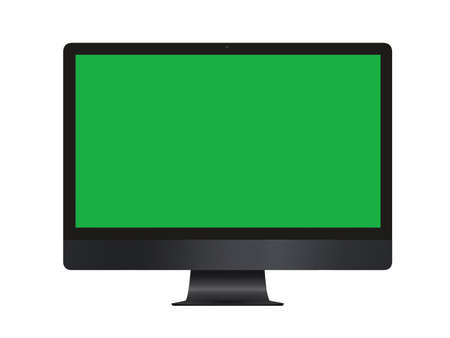 The isolated green screen black professional computer on white blackground Banco de Imagens - 124848206