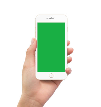 Isolated human left hand holding green screen white mobile smart phone mockup on white background