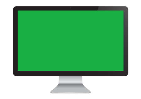 Isolated LED Cinema Display computer monitor mockup with green screen Banco de Imagens - 124848210