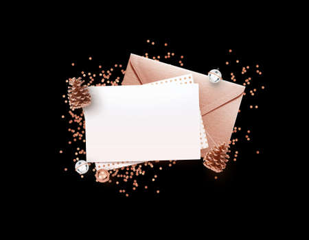 Eleglance stylish bronze envelope and blank memo paper mock up design template with Christmas decoration