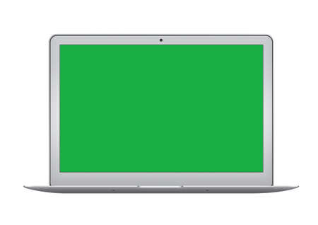 The Isolated green screen silver laptop computer on white background