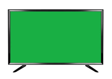 The green screen isolated OLED green screen flat smart TV on white background Banco de Imagens