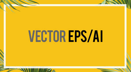 The summer palm leaves yellow banner background template with border