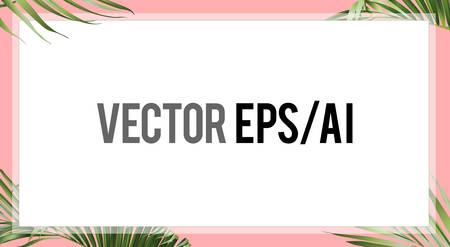 The summer palm leaves banner background template with pink border