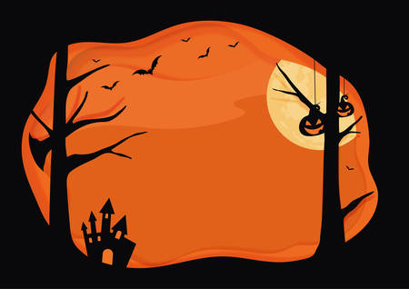 Horizontal Halloween vector orange background with layer border, bat, pumpkin, moon
