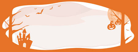 Horizontal Halloween vector orange website banner background with layer border, bat, pumpkin  Ilustração