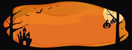 Horizontal Halloween vector orange website banner background with layer border, bat, pumpkin  Ilustração
