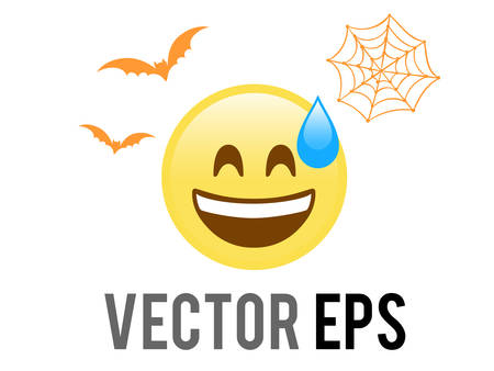 The isolated Halloween yellow shocked face flat icon with flying bat and spider net Ilustração