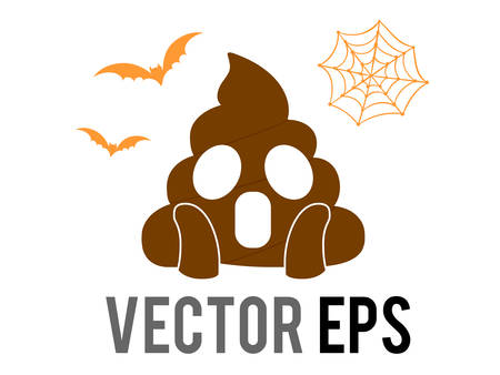 The isolated Halloween brown scary shit face flat icon with flying bat and spider net