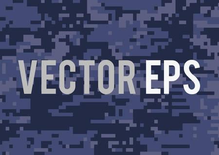The dark blue military camouflage textured background Ilustração