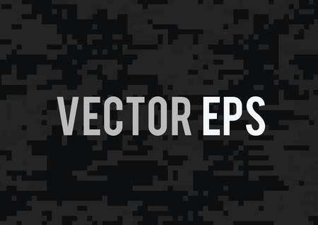 The digital black and dark grey military camouflage textured background Ilustração