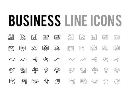 Set di icone di linea vettoriale per lo sviluppo aziendale e l'analisi di report per app e siti Web mobili reattivi