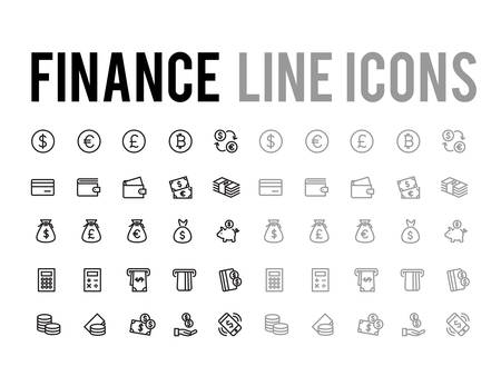 Finance and payment method vector line icon set for app and mobile website responsive