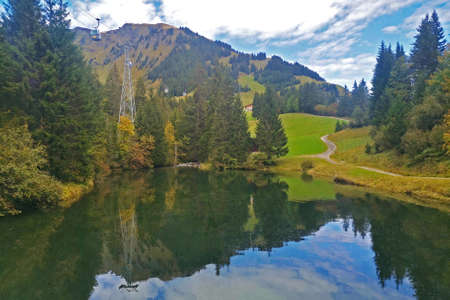 The Switzerland Grindelawld snow mountain with sightseeing cable car, outdoor park and lake