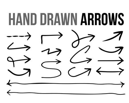 The vector hand drawn arrow icon infographic design material collection set on white background