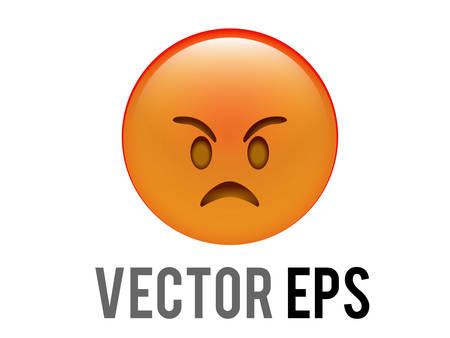 The isolated vector gradient red angry, upset and disappointed face icon