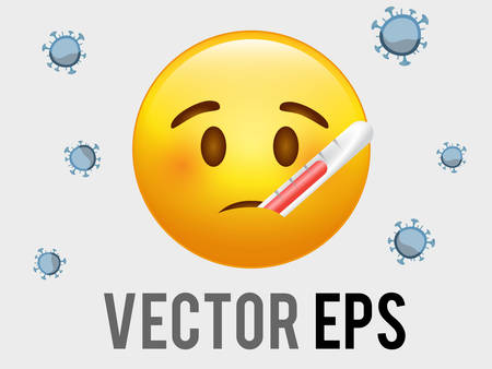The vector isolated yellow sick face icon with mouth medical thermometer