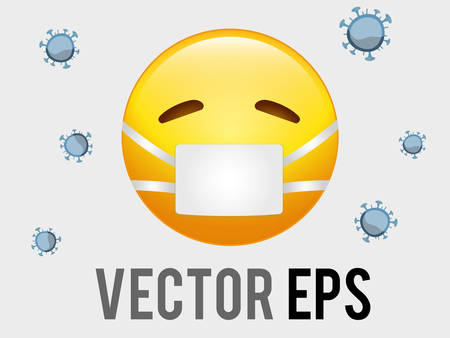 The vector isolated yellow sicky, ill face with white mask flat icon
