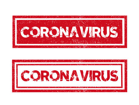 Vector word COVID-19 Coronavirus red ink stamp seal dangerous message with grunge effect