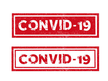 Vector word CONVID-19 Coronavirus red ink stamp seal dangerous message with grunge effect