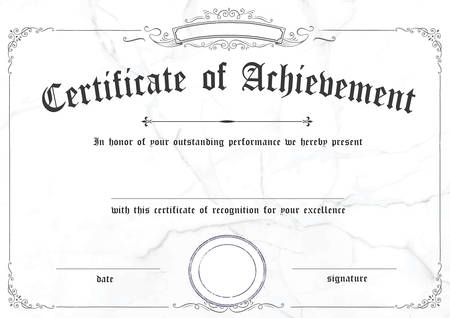 The classic white horizontal marble certificate of achievement paper template with retro border in vector format
