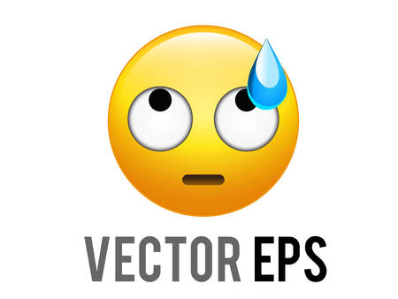 The isolated vector gradient yellow depressed with eyes up face icon and blue sweat