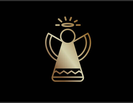 The vector gradient golden isolated elegant Christmas angel line icon Illustration
