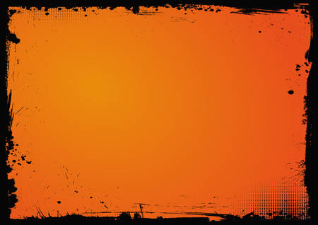 The horizontal Halloween blank gradient orange background with black grunge border