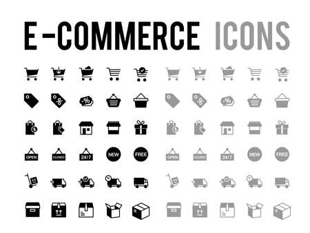 E-commerce online shopping and delivery vector icon collection - app and mobile web responsive