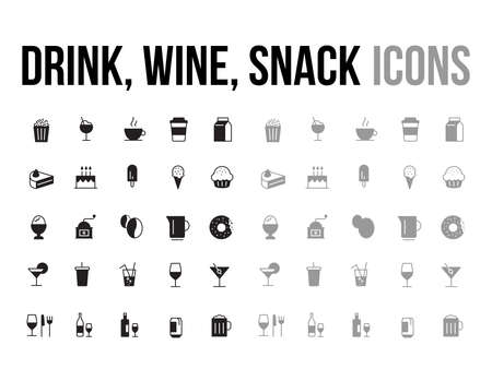 Drink, wine, snack  vector icon collection - app and mobile web responsive
