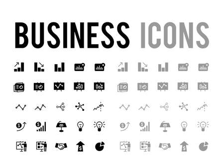 Business devleopment and analyics report vector icon set for app and mobile website responsive