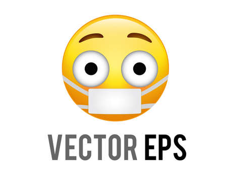 The isolated vector yellow embarrassed face icon with flushed red cheeks and mask