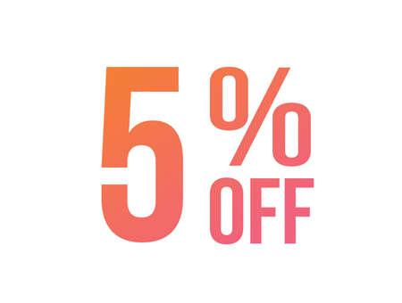 The vector energetic gradient pink to orange five percent off special discount word Vector Illustratie